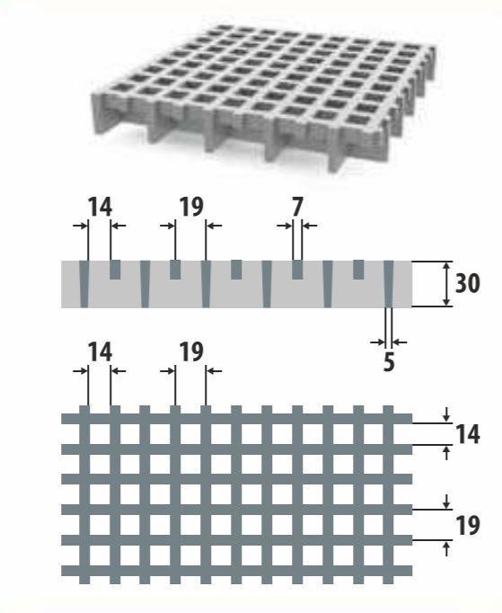 Lasikuituritilä 19x19/30x7 1000x1000mm antislip