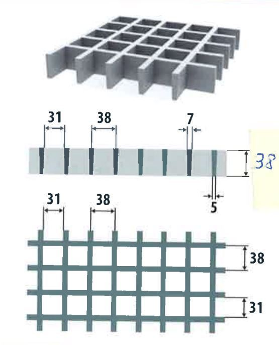 Lasikuituritilä 38x38/38x7 1000x1000mm antislip