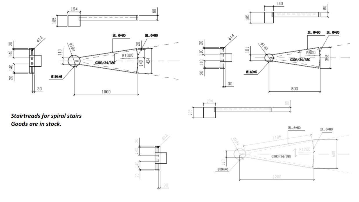 Kierreporrasaskelma Sinkitty 1200mm SP 34x38/30x3mm