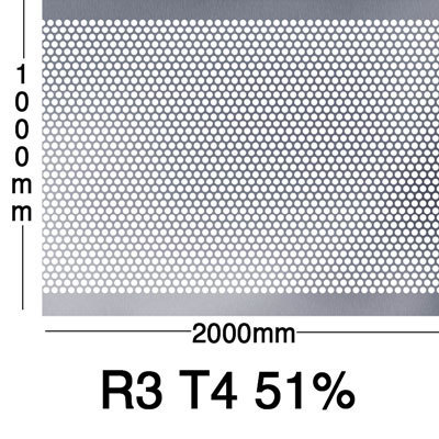 Reikälevy RST (AISI304) 0.8x1000x2000mm R3 T4 51%