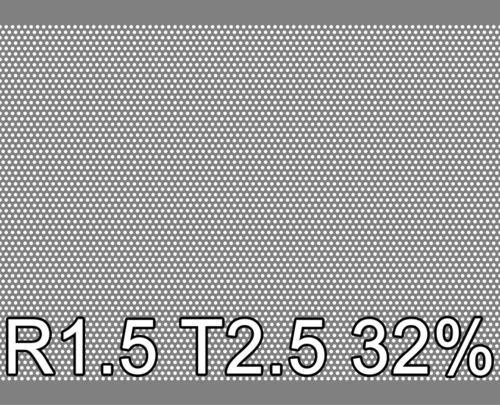 Reikälevy RST (AISI304) 0.5x1000x2000mm R1.5 T2.5 32%