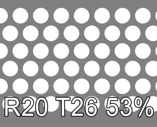 Reikälevy RST (AISI304) 1.0x1000x2000mm R20 T26 53%