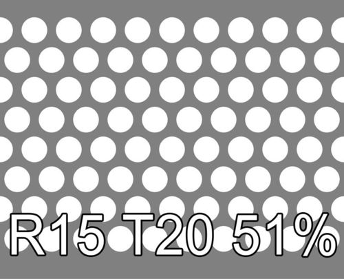 Reikälevy RST (AISI304) 1.5x1000x2000mm R15 T20 51%