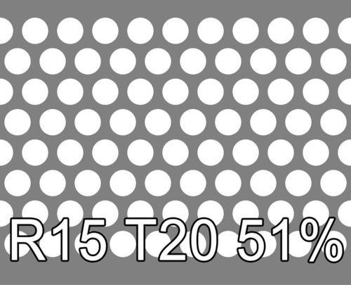 Reikälevy RST (AISI304) 2.0x1000x2000mm R15 T20 51%