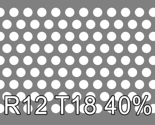 Reikälevy RST (AISI304) 2.0x1000x2000mm R12 T18 40%