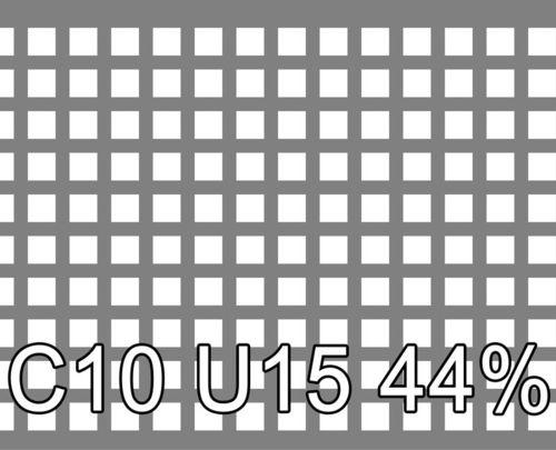 Neliöreikälevy Sinkitty (Zn) 1.5x1250x2500mm C10 U15 44%