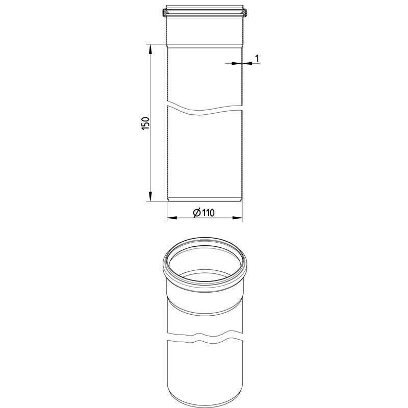 Blucher RST muhviputki 110x3000mm
