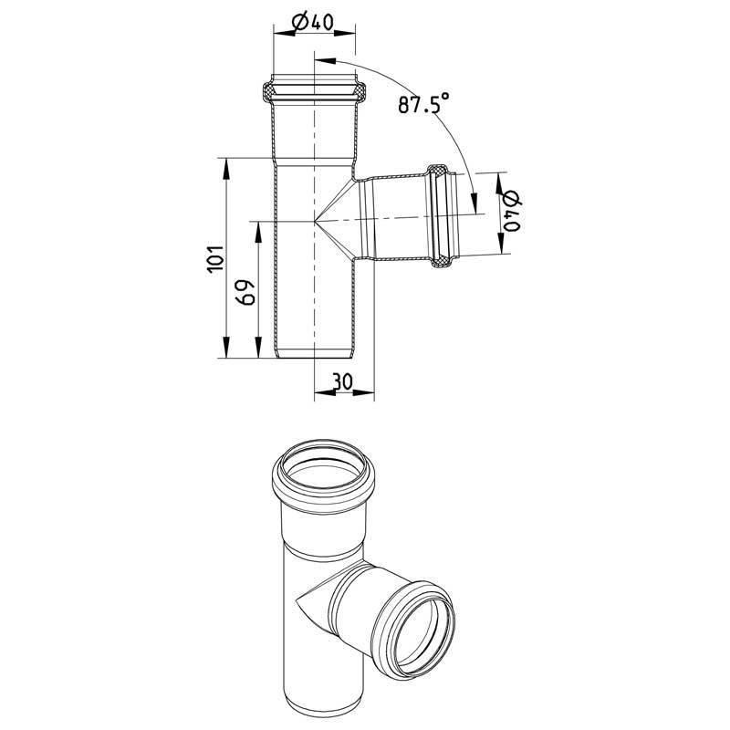 Blucher RST T-haarayhde 40x40mm 87,5 astetta