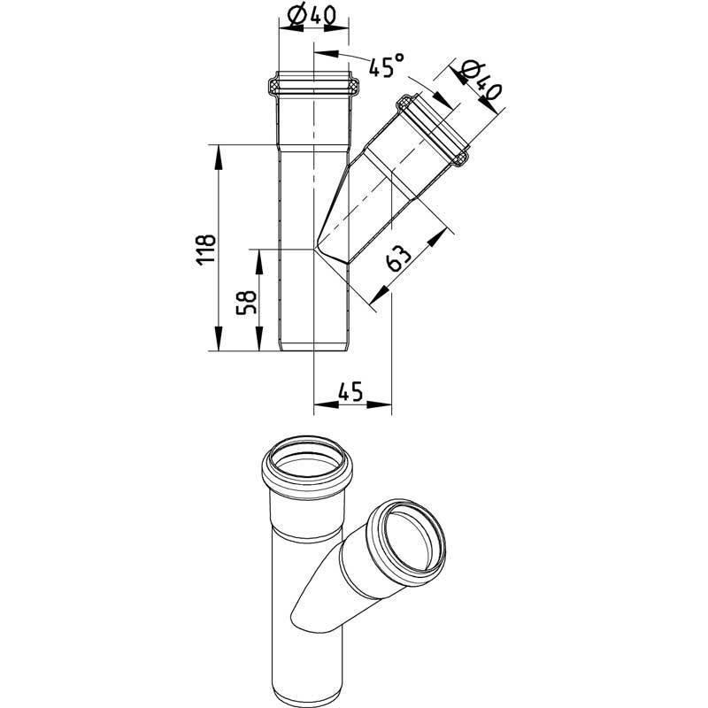 Blucher RST T-haarayhde 40x40mm 45 astetta