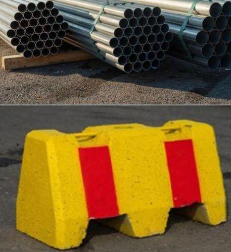 Betoniporsas maalattu 200kg ja liikennemerkkiputki 60x2700mm